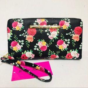 Betsey Johnson Z/A Wallet Wristlet  Black/Floral